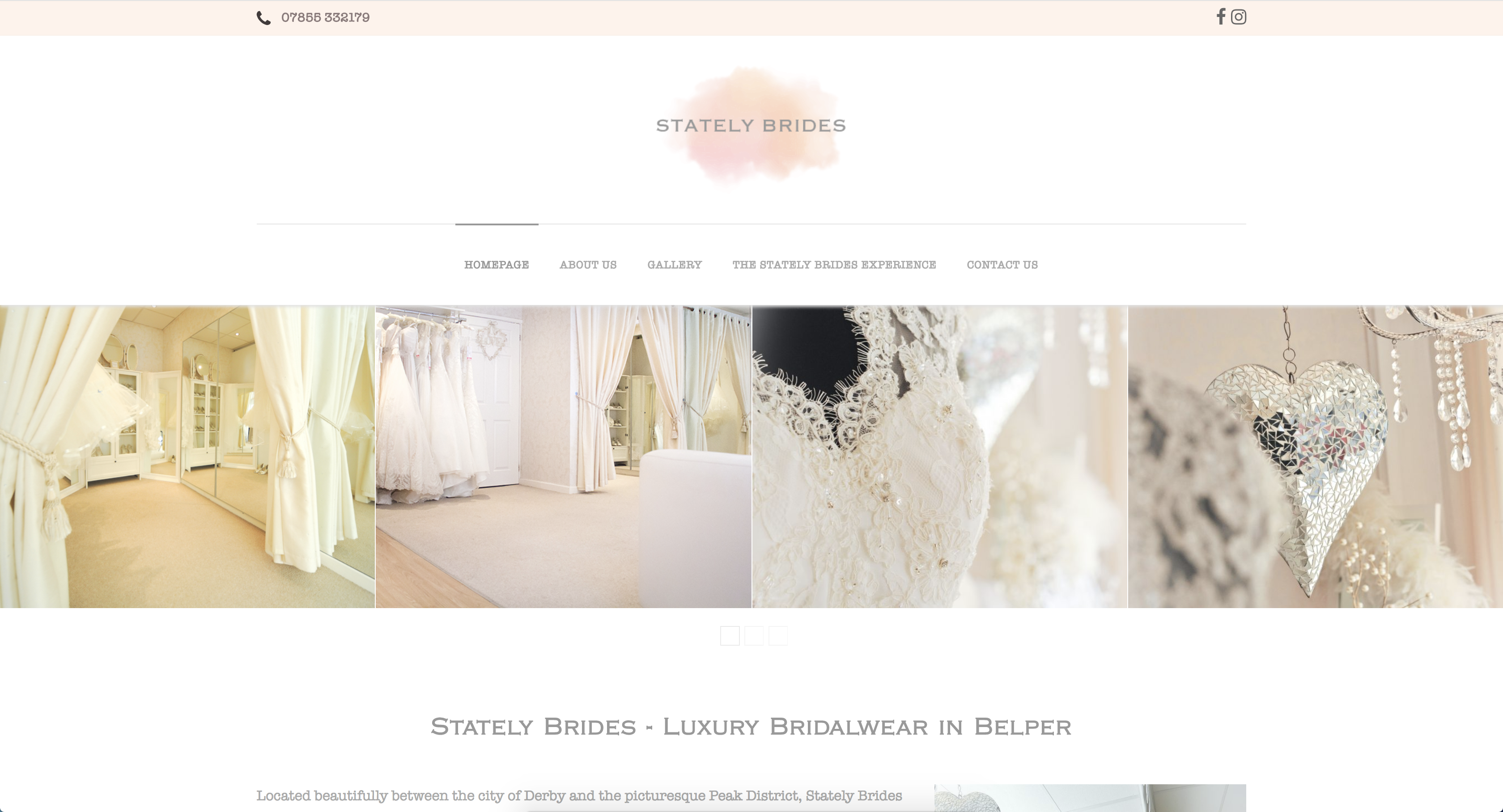 Stately Brides of Belper, Website Homepage